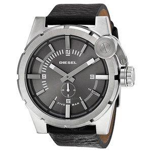 DIESEL Stainless Steel Black Leather Men's Watch
